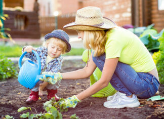 Gardening with Kids to Make Them Healthy and Happy, gardening with kids, playing in the garden with kids